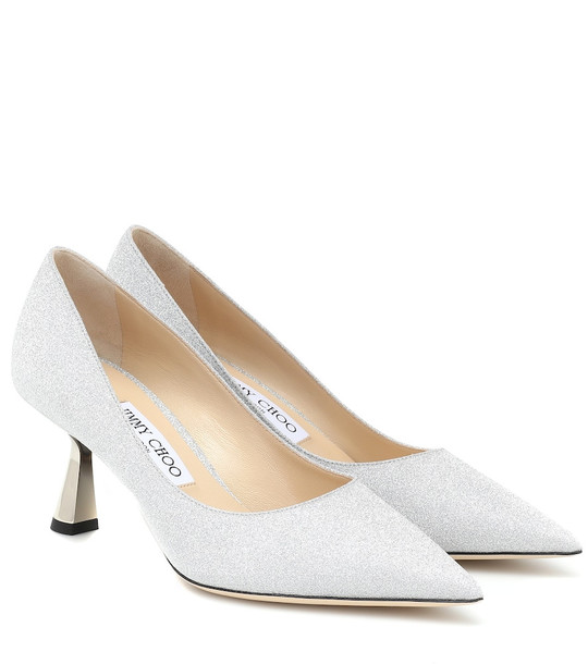 Jimmy Choo Rene 65 glitter pumps in silver