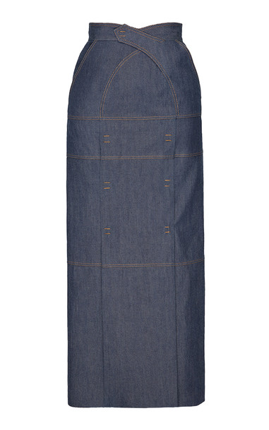 SITUATIONIST High-Rise Maxi Denim Skirt in blue