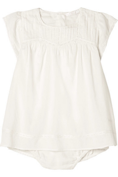 Chloé Kids - Months 1 - 18 Lace-trimmed Cotton-voile Dress in white