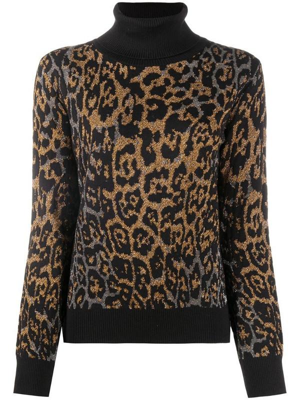 Just Cavalli leopard-print crew neck jumper in black