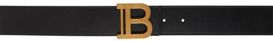Balmain Black Leather B Belt in noir