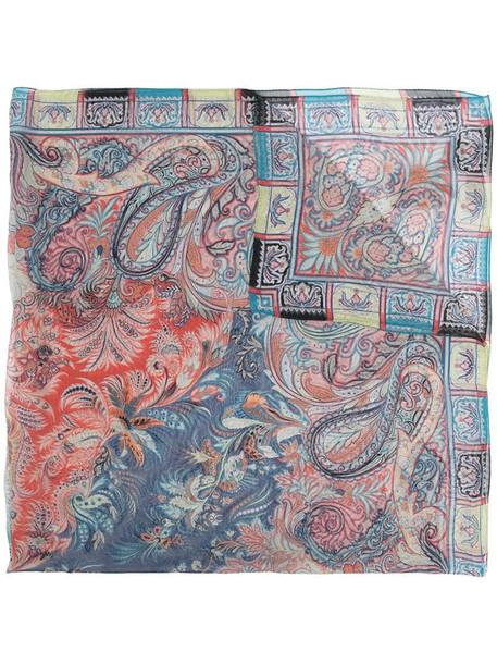 Etro paisley-print silk scarf in blue