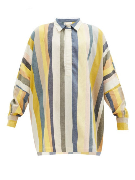 Marrakshi Life - Striped Long-sleeve Cotton Tunic Cover-up - Womens - Multi