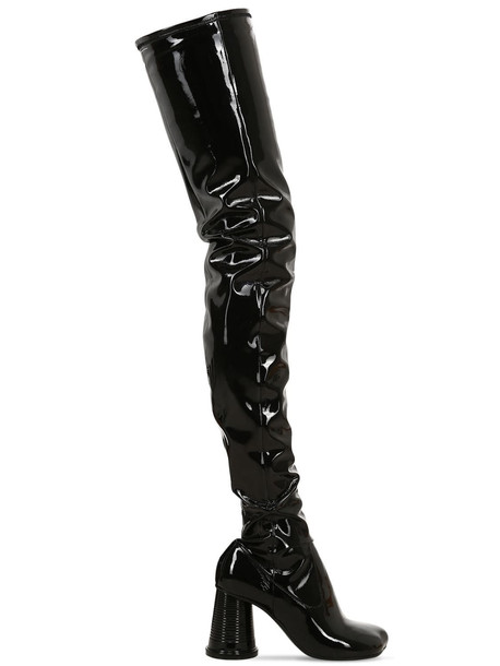 MM6 MAISON MARGIELA 85mm Faux Patent Over The Knee Boots in black