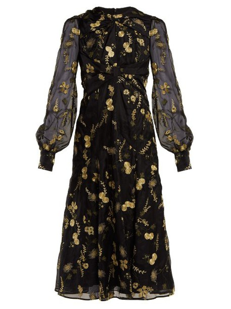 Erdem - Carwen Lismore Embroidery Organza Dress - Womens - Black Print