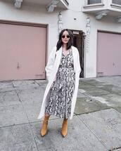 dress,midi dress,snake print,h&m,brown boots,suede boots,heel boots,v neck dress,white coat,long coat,mango