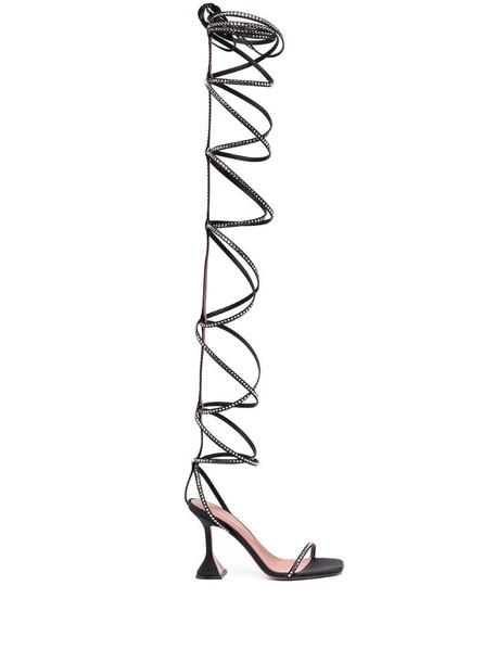 Amina Muaddi x AWGE thigh-high satin sandals in black