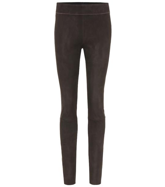 Jil Sander Suede leggings in brown