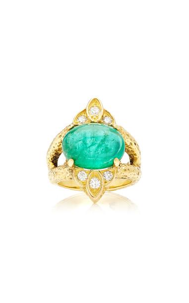 Eleuteri Vintage 18K Yellow Gold, Cabochon Emerald and Diamond Ring Si