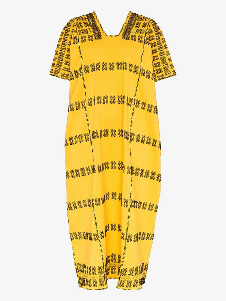Pippa Holt short sleeve khaftan dress in yellow