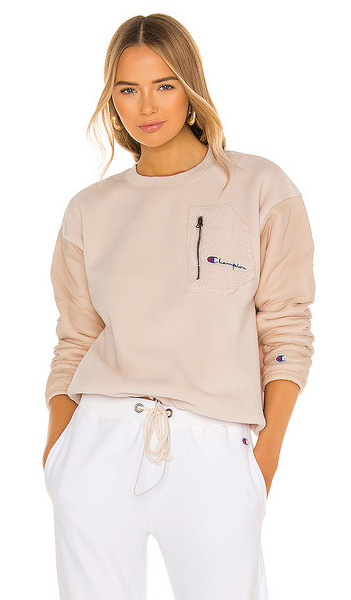 Champion Boxy Sherpa Crew Top in Pink in peach