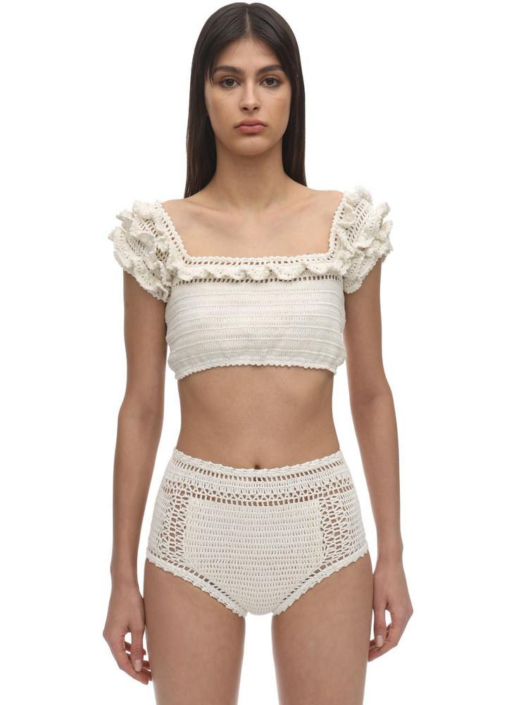 SHE MADE ME Saachi Ruffled Crochet Bikini Top in white