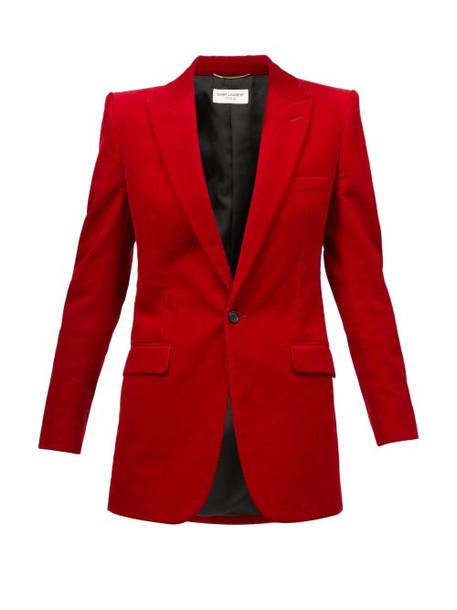 Saint Laurent - Peak-lapel Corduroy Blazer - Womens - Red