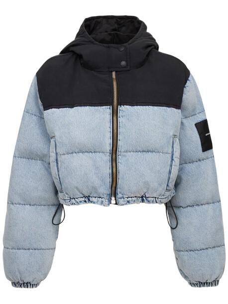 ALEXANDER WANG Cropped Denim Puffer Jacket W/ Hood in black / blue