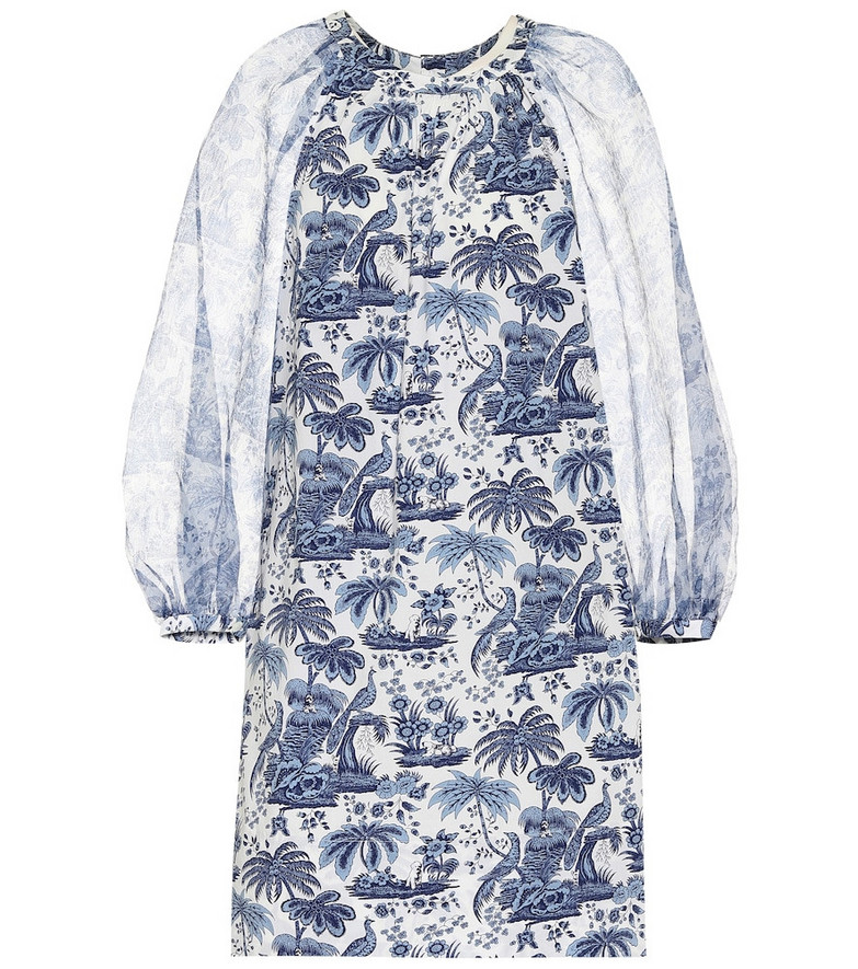 Staud Garden printed cotton minidress in blue