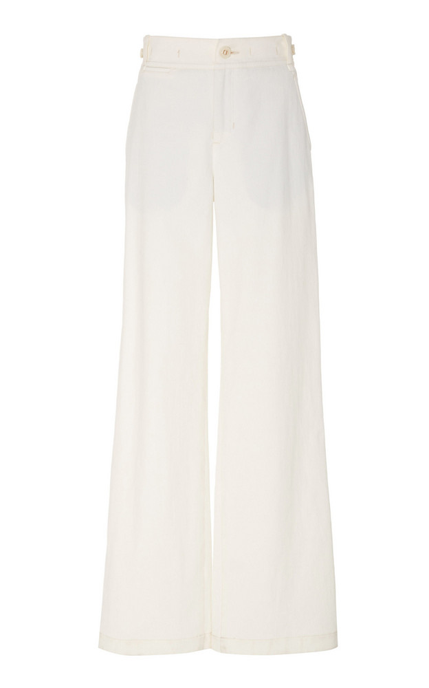 Vince Cotton-Blend Wide-Leg Pants in white