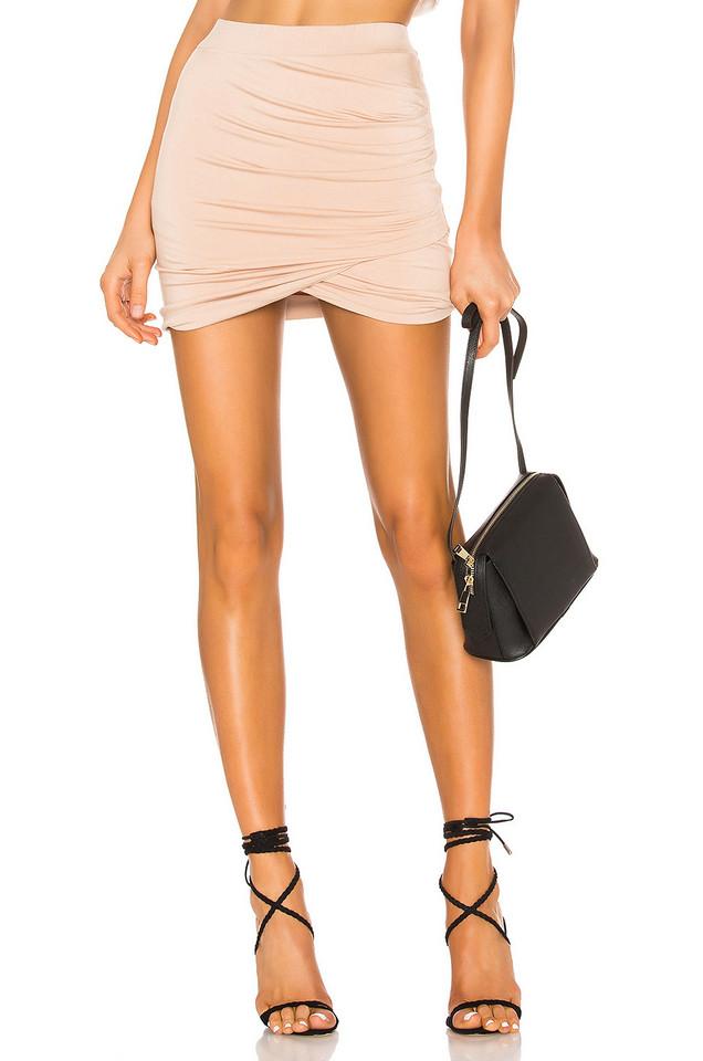 superdown Arden Ruched Mini Skirt in beige / beige