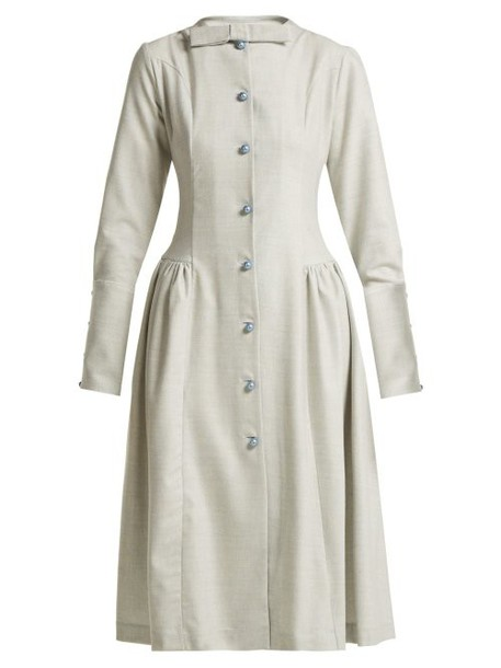 Luisa Beccaria - Wool Blend Midi Dress - Womens - Blue