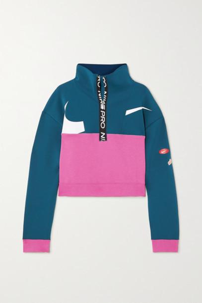 Nike - Cropped Color-block Dri-fit Fleece Sweatshirt - Navy