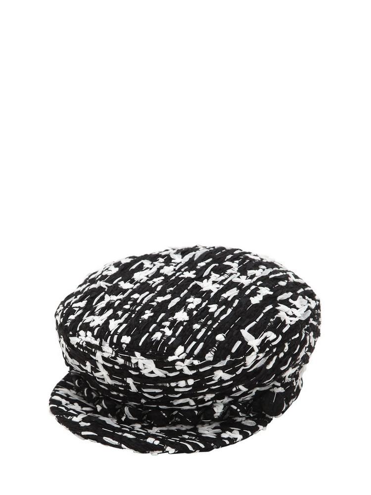 EUGENIA KIM Marina Boucle Hat W/ Silver Chain in black / white