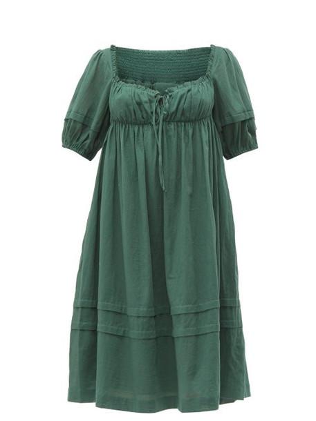 Loup Charmant - Ottranto Puff Sleeve Cotton Dress - Womens - Green