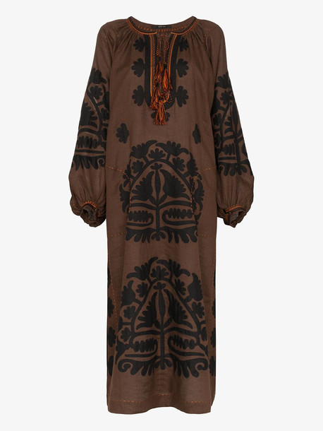 Vita Kin Shalimar embroidered linen dress in brown