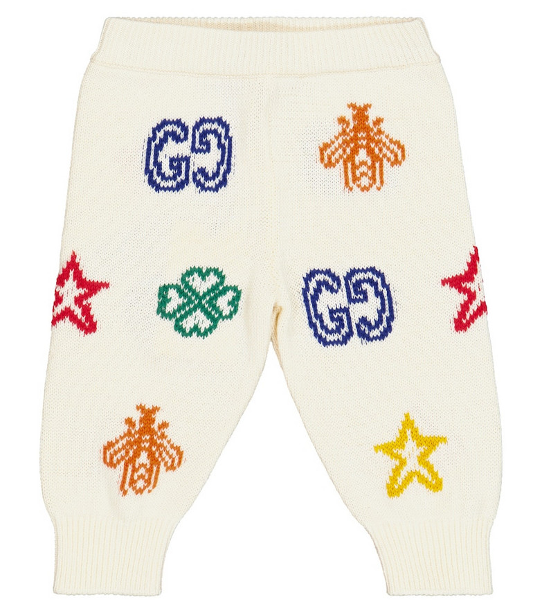 Gucci Kids Baby cotton jacquard knit pants in white