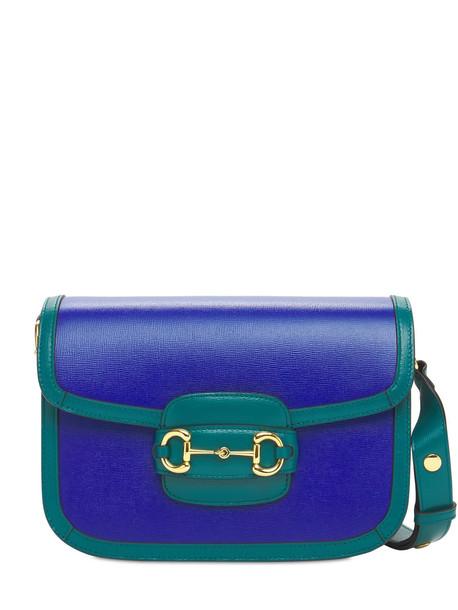 GUCCI Small 1955 Horsebit Leather Shoulder Bag in blue