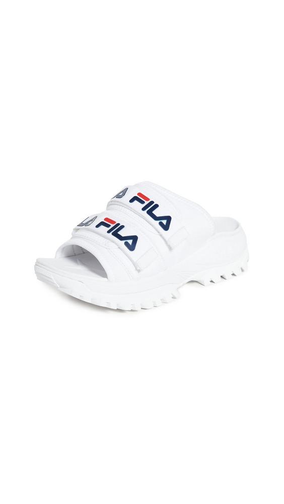 Fila Outdoor Slides in navy / red / white