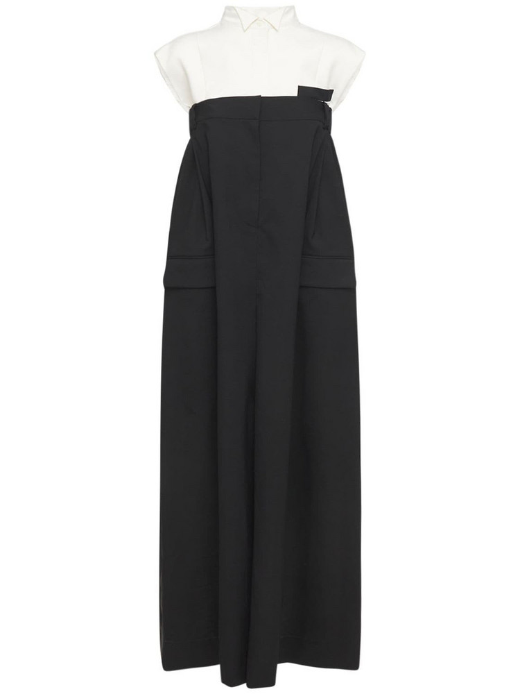 SACAI Tech & Wool Blend Suiting Long Dress in black / white