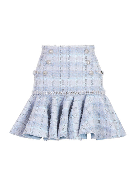 Balmain 6 Button Chain-Trimmed Ruffled Tweed Skirt Size: 38 in blue