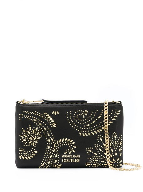 Versace Jeans Couture embellished logo shoulder bag in black