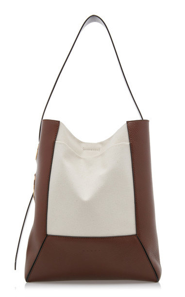 Marni Nemo Canvas Paneled Leather Tote in brown