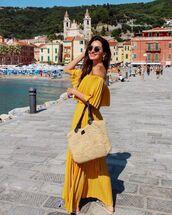 dress,maxi dress,pleated dress,off the shoulder dress,slide shoes,woven bag