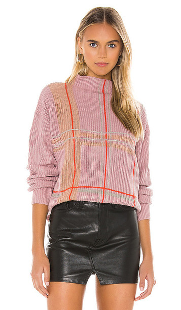 Line & Dot Violet Checkered Sweater in Pink