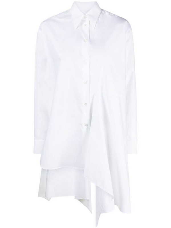 MM6 Maison Margiela asymmetric draped shirt in white
