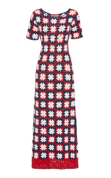 Staud Mare Crocheted Cotton Maxi Dress in multi