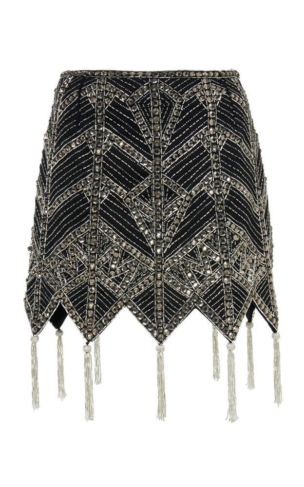 Attico Crystal-Embellished Virgin Wool Mini Skirt in black