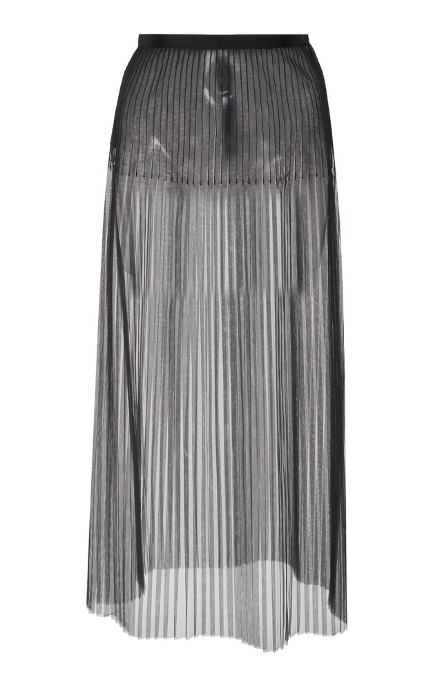 Huishan Zhang Mariella Pleated Tulle Midi Skirt in black