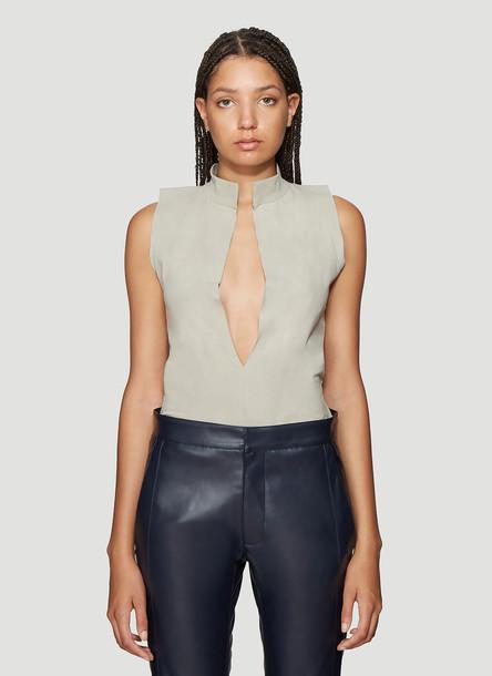 Roni Ilan Mud Dyed Sleeveless Bodysuit in Beige size M