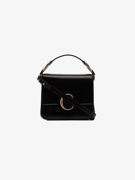 Chloé Chloé black C ring medium leather shoulder bag