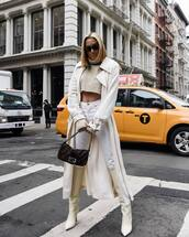 coat,trench coat,white coat,acne studios,white boots,knee high boots,jimmy choo,white jeans,skinny jeans,fendi,brown bag,cropped turtleneck