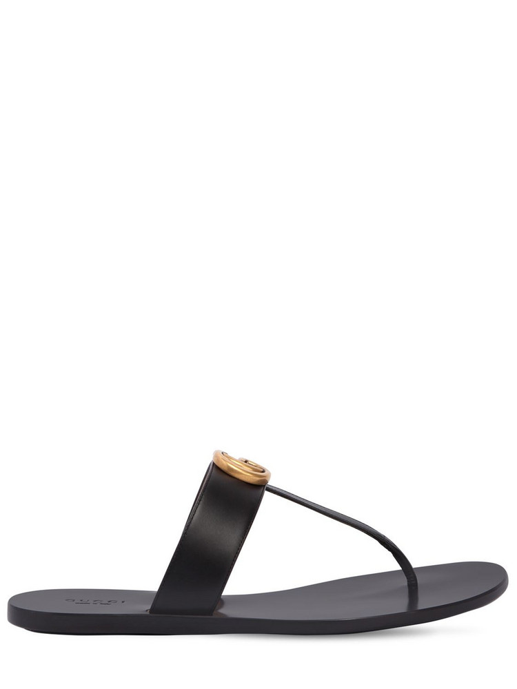 GUCCI 10mm Marmont Leather Thong Sandals in black