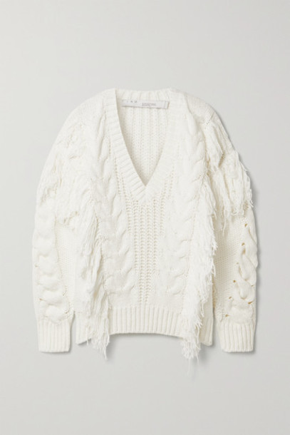 IRO - Wynd Fringed Cable-knit Cotton-blend Sweater - White