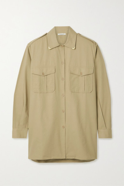 Mes Demoiselles - Karagol Metallic-trimmed Cotton-canvas Shirt - Beige