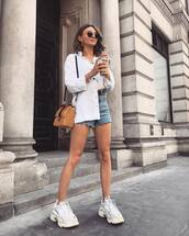 top,shirt,white shirt,denim shorts,shorts,bag,straw bag