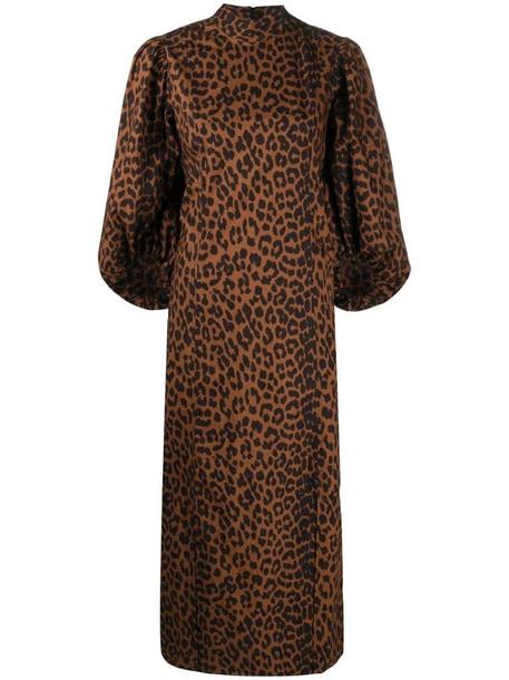 GANNI pouf-sleeve leopard-print dress in brown