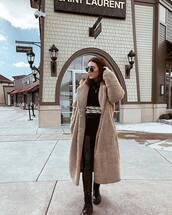 coat,teddy bear coat,long coat,h&m,black boots,combat boots,black leggings,black sweater,snake print,crossbody bag