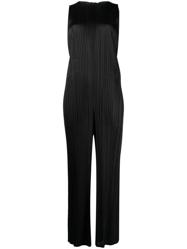 Pleats Please Issey Miyake flared sleeveless jumpsuit in black