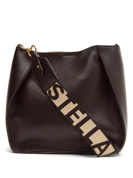 Stella Mccartney - Logo-strap Faux-leather Cross-body Bag - Womens - Black
